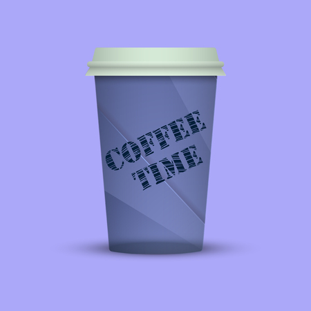 Takeout coffee cup illustration isolated with words coffee time