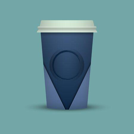 Paper coffee cup mock-up. Vector realistic illustration Иллюстрация