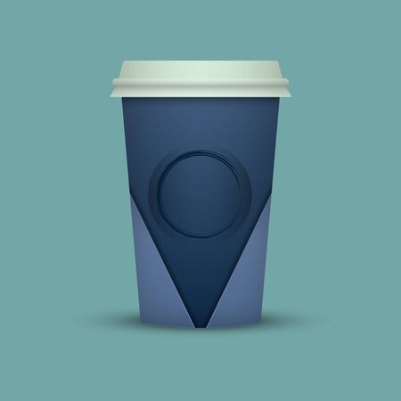 Paper coffee cup mock-up. Vector realistic illustration Illustration