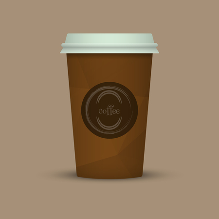 Coffee cup in low poly style. brown coffee plastic take away cup Фото со стока - 98008148