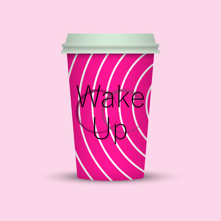 Fashion Stylish Coffee cup. coffee cup vector illustration with the words Wake Up