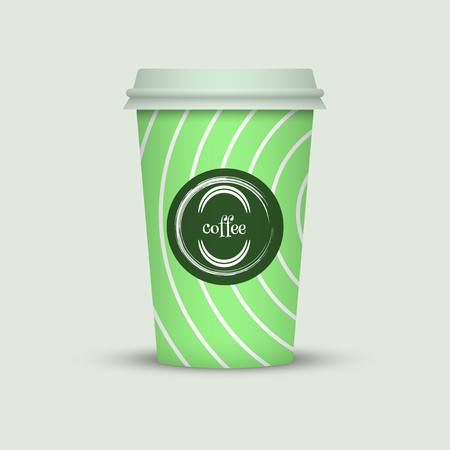 Coffee cup in hipster low poly style. green coffee plastic take away cup