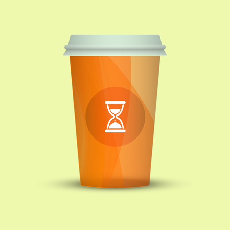 Coffee cup isolated. Coffee cup vector illustration. creative coffee with sand watch