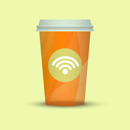 Coffee cup isolated. Coffee cup vector illustration. creative coffee with wifi sign Illustration