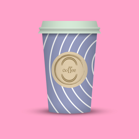 Coffee cup in hipster low poly style. blue coffee plastic take away cup