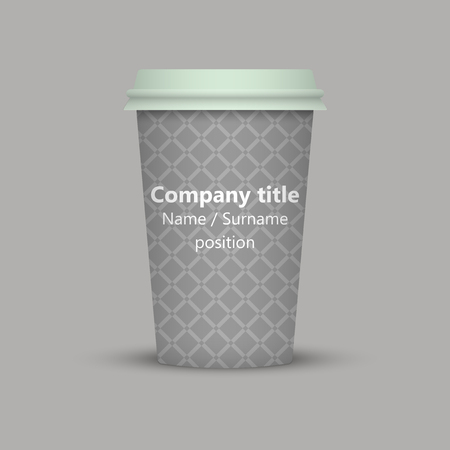 Coffee cup to go vintage texture paper cup take away coffee. company text Ilustração
