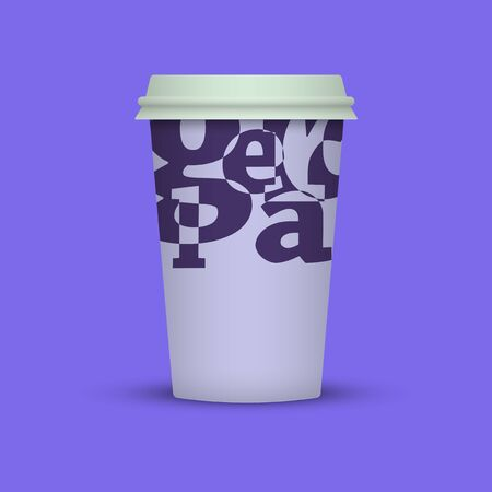 Coffee cup with creative letters