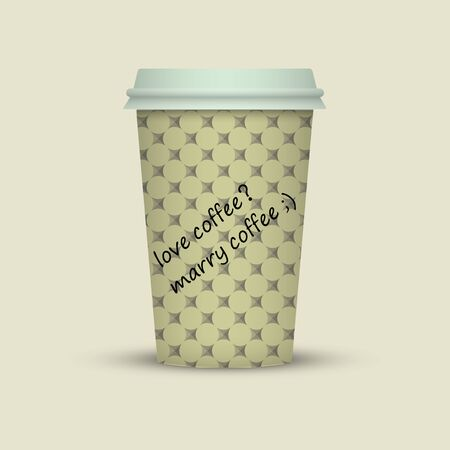Coffee in plastic cup with words love coffee, marry coffee vector illustration Illustration