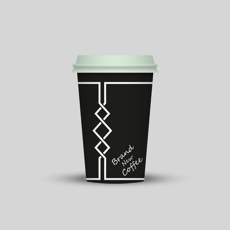 coffee in plastic cup with words Brand New Coffee Vector illustration.