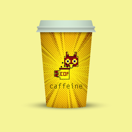 coffee in plastic cup with words caffeine. owl coffee cup to go Vector illustration.