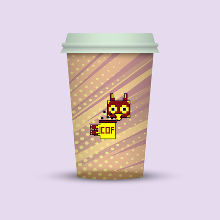 coffee in plastic cup. owl with coffee cup to go Vector illustration.