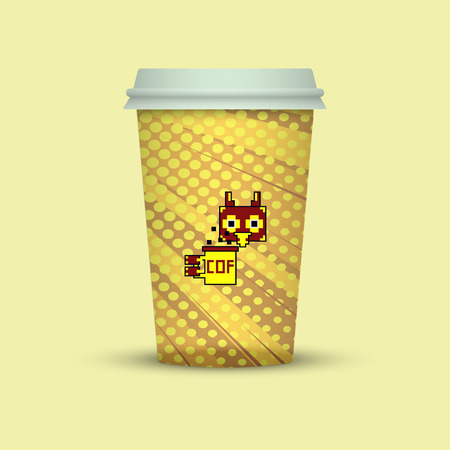 creative pixel paper cup take away coffee. with owl in pixel style Vector illustration.