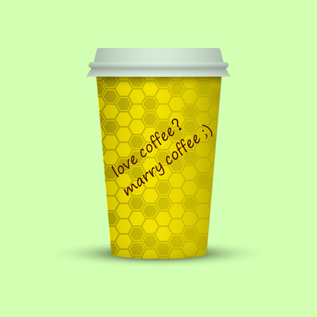 Coffee cup to go creative texture paper cup take away coffee. love coffee, marry coffee text Vector illustration.