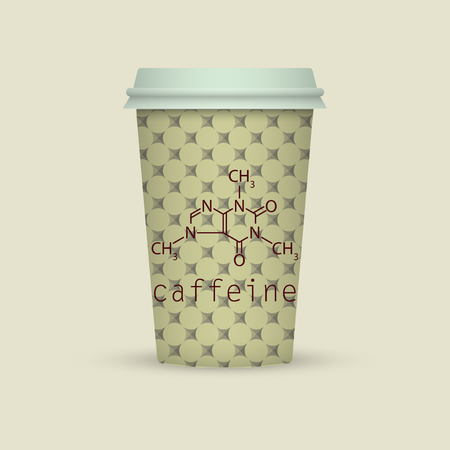 caffeine chemical formula on coffee paper cup Vector illustration.