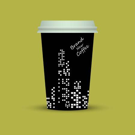 Creative coffee cup with Brand New Coffee text vector illustration Ilustração