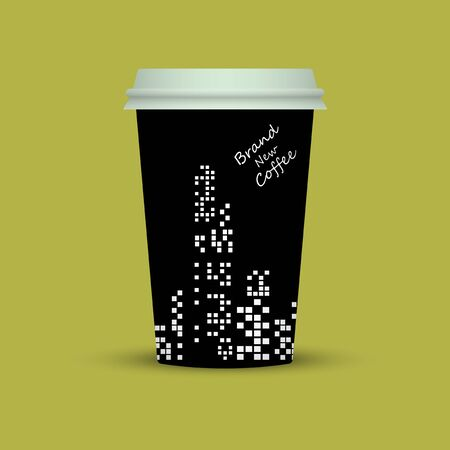 Creative coffee cup with Brand New Coffee text vector illustration Illustration