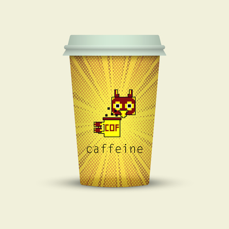 Coffee cup to go creative pixel paper cup take away coffee. with owl in pixel style Vector illustration.