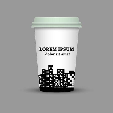 Coffee cup with city vector illustration