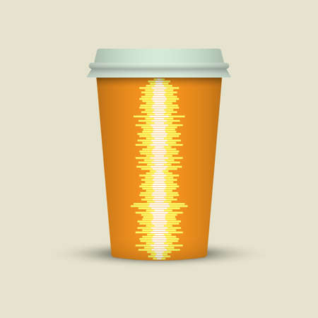 Coffee cup vector illustration with music waves Illustration