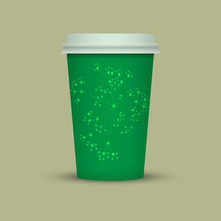 Coffee cup vector illustration. Paper coffee cup icon isolated on background. Green Abstract Plastic coffee cup Ilustração