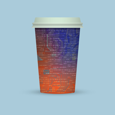 Coffee cup in electronic digital style. Paper coffee cup icon