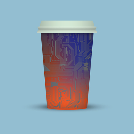 Coffee cup in electronic digital style. Plasticr coffee cup icon to go