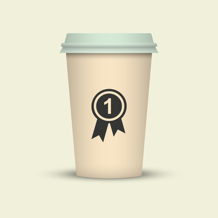 Coffee cup with medal vector illustration. first class sort coffee to go Illustration