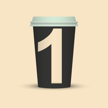 Number One Coffee cup vector illustration