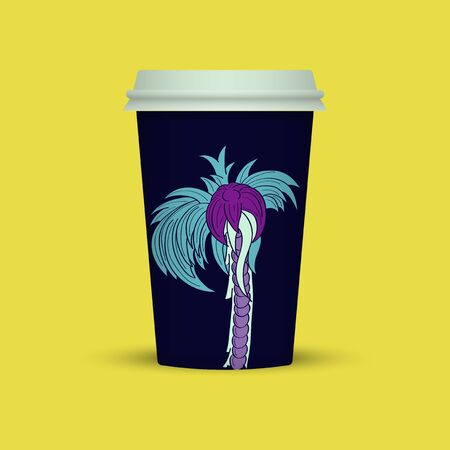 Coffee cup with abstract palm vector illustration, coffee take away.