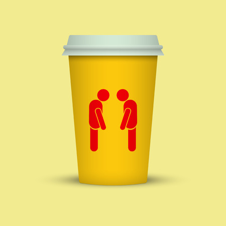 Coffee cup with two sleepy man silhouette. coffee take away Standard-Bild