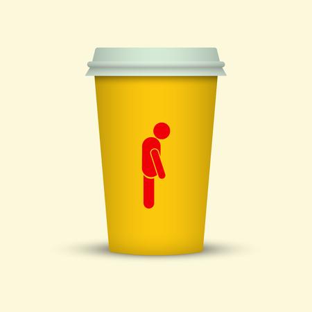 Coffee cup with sleepy man silhouette