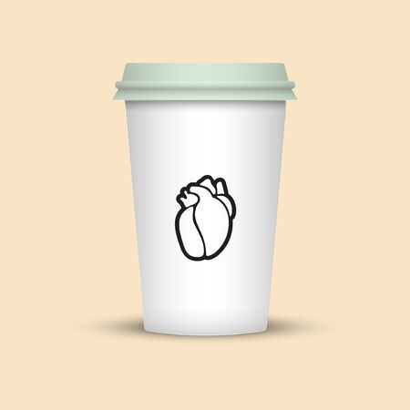 coffee cup with heart emblem on it. plastic coffee cup take away