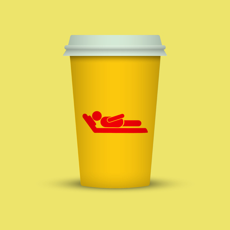 Coffee cup with sleeping man silhouette. coffee to go plastic cup Standard-Bild