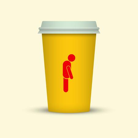 Coffee cup with sleepy man silhouette on it Ilustração