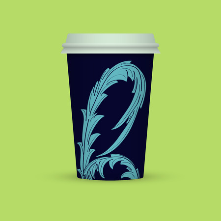 Coffee cup vector illustration. Paper coffee cup icon isolated on background. Blue Abstract Plastic coffee cup