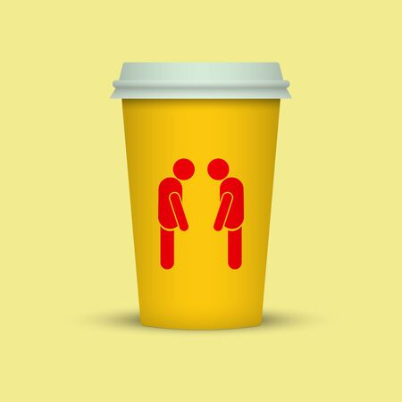 Coffee cup with two sleepy man silhouette on it. coffee take away