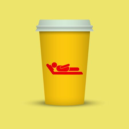 Coffee cup with sleeping man silhouette on it. coffee to go plastic cup