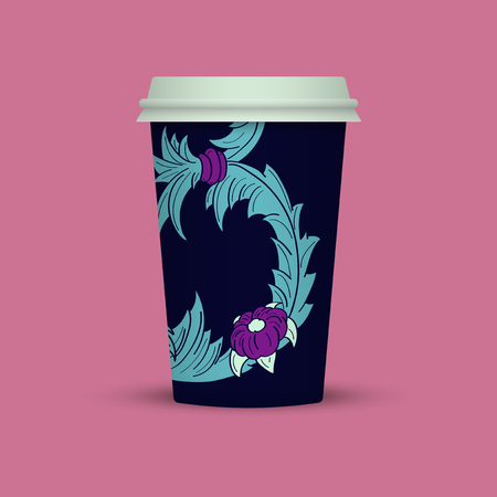 Blue Abstract cover for Plastic coffee cup