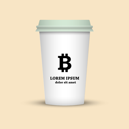 cryptocurrency coffee. coffee cup with bitcoin sign in black and white
