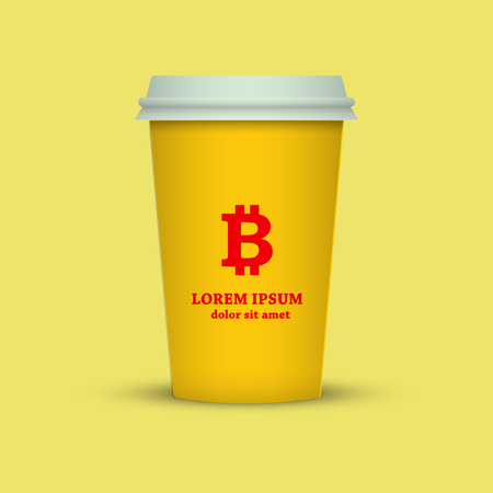 cryptocurrency coffee. coffee cup with bitcoin sign