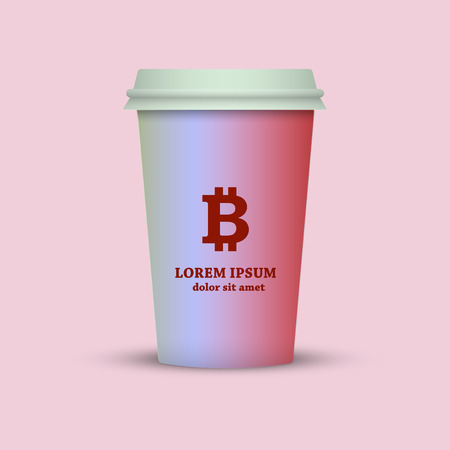 Illustration of a coffee cup with a bitcoin sign