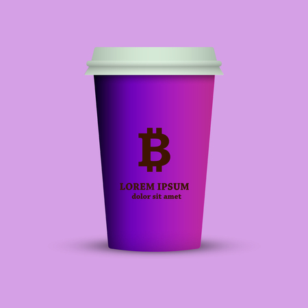 Illustration of a coffee cup with a bitcoin emblem