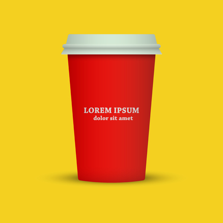 Coffee cup icon. coffee cup vector illustration in red color Фото со стока - 98616685