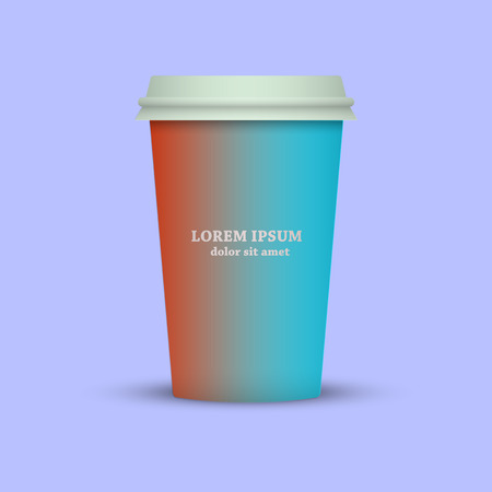 Modern Coffee cup in red and blue colors tone