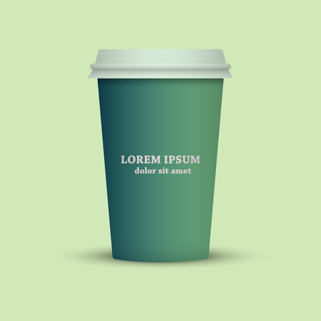 Green Tone Coffee cup. take away coffee Illustration