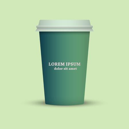 Green Tone Coffee cup. take away coffee Ilustração