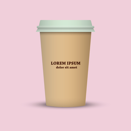Brown cup on a pink background