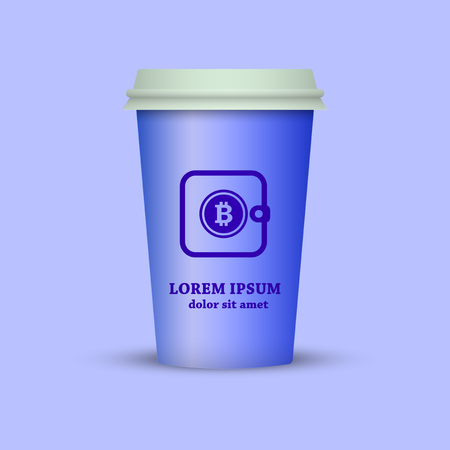 cryptocurrency coffee. coffee cup with bitcoin wallet on it Standard-Bild