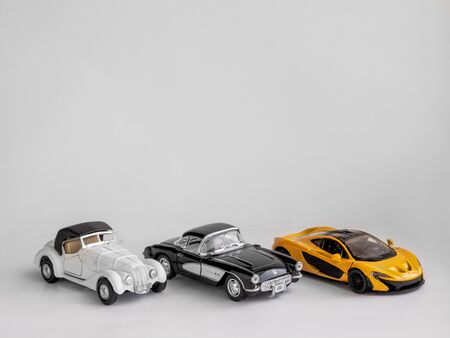 Toy cars on a white background