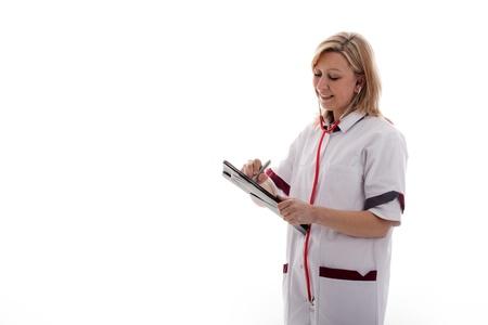 nursing staff: doctor make a notice Stock Photo